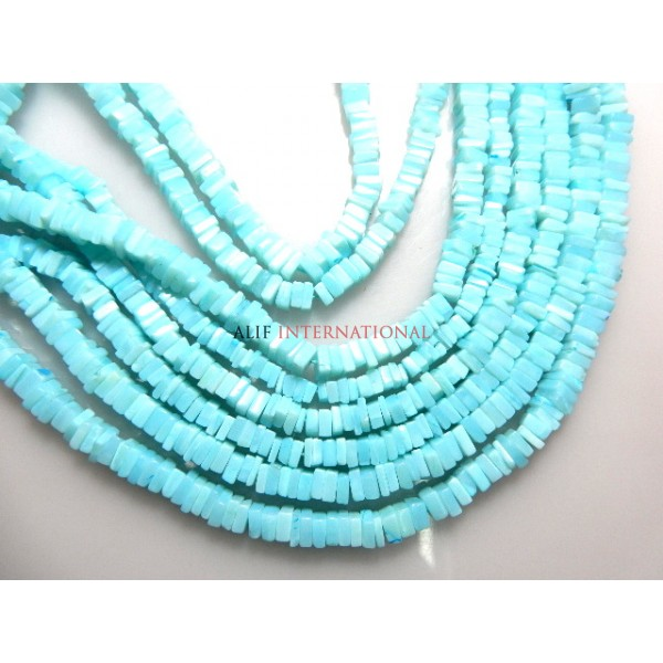 Blue Opal Heishi Smooth Beads Gemstone