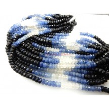Natural Blue Sapphire Faceted Rondelle Gemstone Beads 3-4MM 14'' Strands