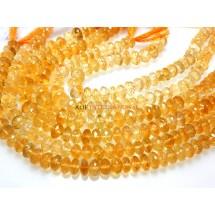 Citrine Quartz Faceted Rondelle Beads Gemstone