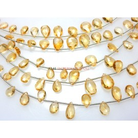 Citrine Quartz Faceted Briolette Pear Drops Beads