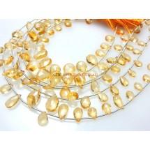Citrine Quartz Faceted Briolette Pear Drops Beads