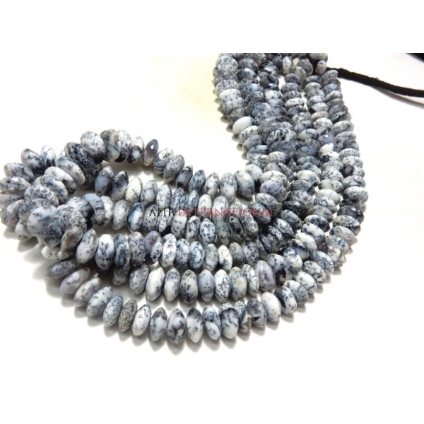Dendrite-Opal-Beads AAA High Quality Dendtrite-Opal German Cut Rondelle Beads Size 8-12MM Approx -100% Natural-Gemstone