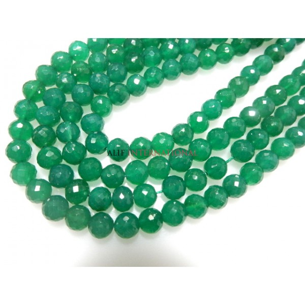 Green Onyx Faceted Round Ball Gemstone Beads
