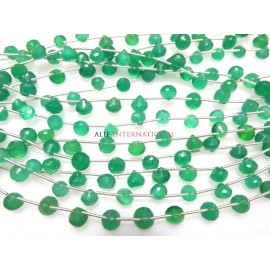 Green Onyx Faceted Onion Drops Beads Gemstone