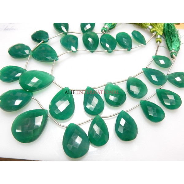 Green Onyx Faceted Briolette Pear Drops Gemstone Beads