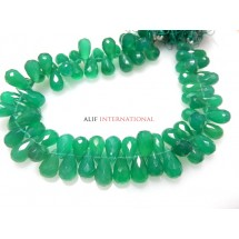Green Onyx Briolette  Faceted Tear Drops  Gemstone Beads