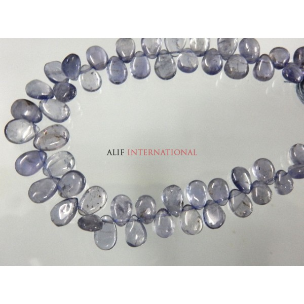 Iolite Briolette Smooth Pear Drops Gemstone Beads