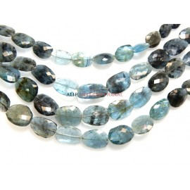 Moss Aqua  Faceted Oval Briolette Gemstone Beads