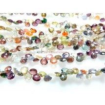 Multi Color Gemstone Coated Faceted Briolette Heart Shape Gemstone Beads