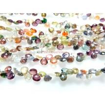 Multi Color Gemstone Coated Faceted Briolette Heart Shape Gemstone Beads