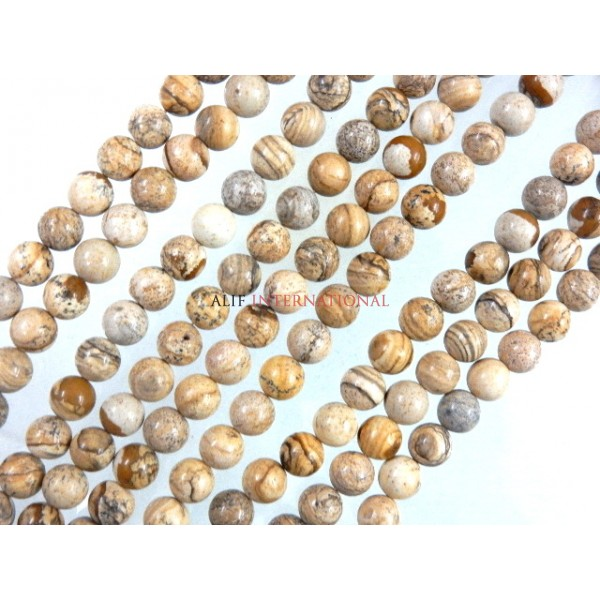 Picture Jasper Smooth Round Ball Gemstone Beads