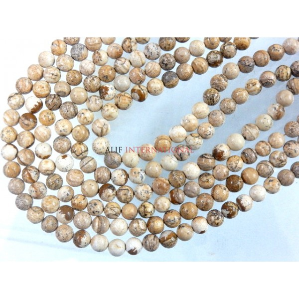 Picture Jasper Smooth Round Ball Gemstone Beads