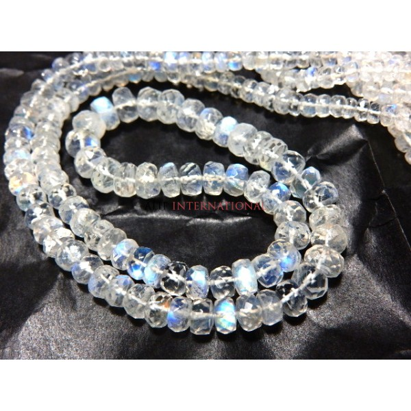 Rainbow Moonstone Rondelle faceted  Beads Gemstone