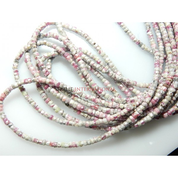 Ruby Zoisite Silverite coated Faceted Tube Gemstone Beads
