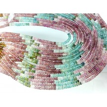 Tourmaline Rondelle Faceted Gemstone Beads